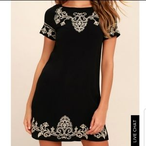 Lulu's Tale To Tell embroidered shift dress black